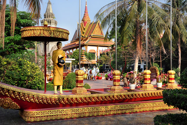 Wat Preah Prom Rath pagoda in the centre of Siem Reap