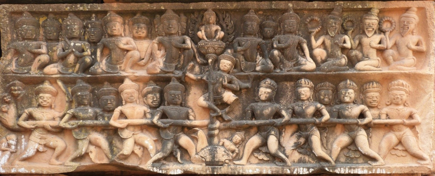 Churning of the Ocean of Milk lintel at West Prasat Sneung